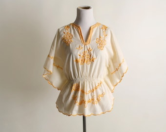 Vintage Embroidered Blouse - Butter Cream Yellow Floral Flutter Butterfly Wing Sleeve Top - small to medium