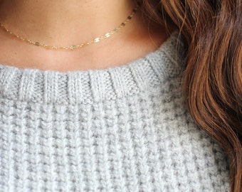 Dapped Chain Choker Layer Necklace - Gold Fill or Sterling Silver