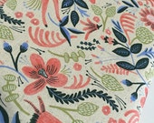 Rifle Paper Co Fabric, SALE, Canvas Linen fabric, Cotton and Steel fabric, Les Fleurs, Home Decor, Folk Horse in Coral- Choose the cut