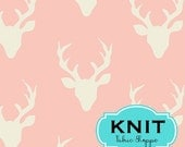 Stretch fabric, KNIT fabric, Legging fabric, Art Gallery Fabrics, Jersey Knit, Cotton Knit Fabric, Buck Forest in Pink, Fabric by the yard