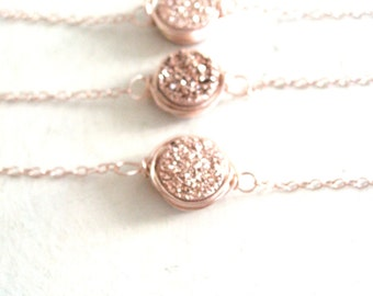 Mini Rosegold Druzy Necklace Bronze copper druzy choker Gift for her under 50 Vitrine