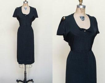 1940s Rayon Dress --- Vintage Little Black Dress