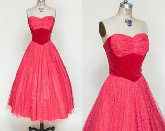1950s Red Lace Party Dress --- Vintage Strapless Prom Dress