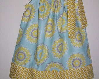 SUMMER SALE Pillowcase Dress with Medallions Baby Blue and Mustard Girls Dresses for Fall toddler dresses Summer Dresses, Kids Clothes