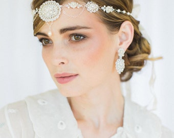 "Edwardian Inspired Bridal Forehead Band  |  Handmade Lace, Pearl & Crystal Halo Head Piece | Gatsby Wedding | ""Amandine"""