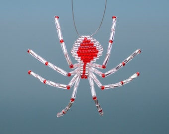 Silver & Red Beaded Spider Ornament