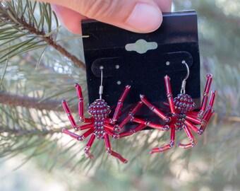 Garnet Red Beaded Spider Earrings