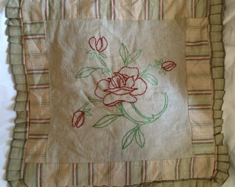 Vintage Fabric Embroidered Linen Pillow Sham Roses w/Ruffle Large