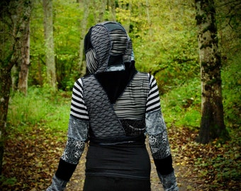 Festival Clothing, Black and Gray Hippie Coat, Patchwork Wrap Jacket, Intergalactic Apparel