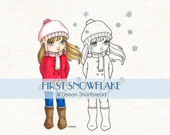 Digital Stamp Winter Snowflake, Digi Download, Snow Girl, Merry Christmas, Children Coloring Page, Scrapbooking Supplies, Clip Art
