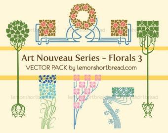 Art Nouveau #5 Vector Pack Clip Art, Vintage Floral Decoration Accents, Digital Download, Royalty Free Graphics, Commercial Use, EPS AI PNG