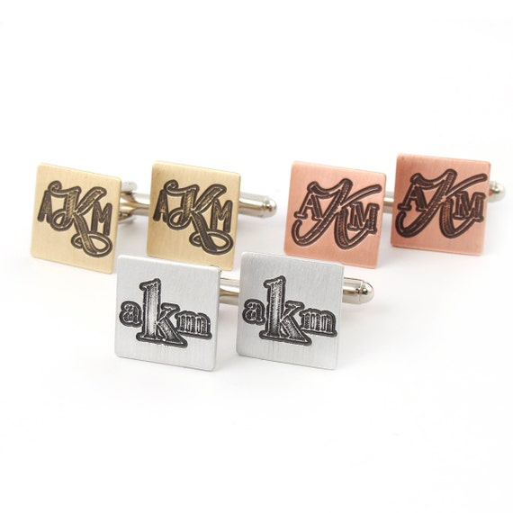 Monogram Cuff Links - Carved Monogram Cufflinks - Personalized Initial Cuff Links - Perfect Groomsmen Gifts - Gift for Him