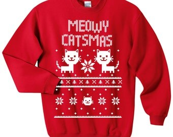 Meowy Catsmas Sweatshirt - Christmas Cat Holiday Sweater - Size S, M, L, XL