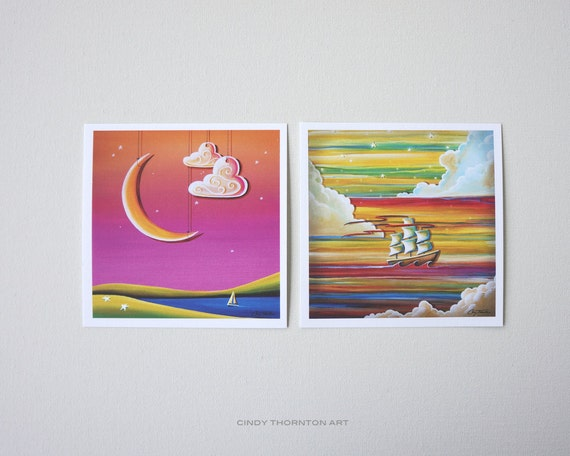 Seafarer Series Mini Print Set - 'Rockabye Lake' & 'Off To Neverland' - Signed