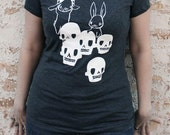 Womens Fitted Tee Shirt - Heather Gray and White - The Skull Collectors - Skulls and Bunny Rabbits Design - Small Medium Large XL Sizes