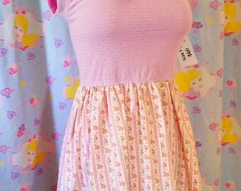 Floral dress, fairy kei clothing sweet lolita hime gyaru fashion Size Medium M