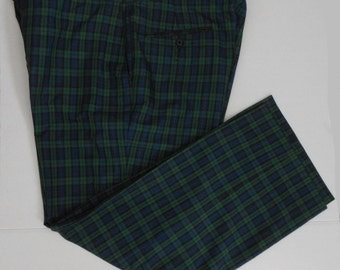 Vintage 60s Men Cotton Shadow Plaid Pants with Adjustable Waist, Waist 33 to 38 Inches, 28 Inch Inseam, Size L to XL