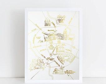 Gold Foil Athens, Georgia Map Art Print