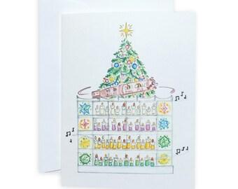 Atlanta Rich's Pink Pig Christmas Greeting Card or Notecard Set