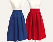 Cotton fully lined pleated midi skirt with pockets - custom size, length, color in black, blue, red, gray, yellow, navy, pink, green