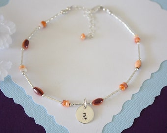 Initial Orange Anklet Sterling Silver, Initial Anklet, Spinal Oyster Anklet, Beach, Vacation, Beach Wedding, Personalized, best friend gift