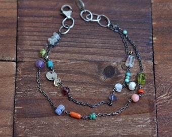 Mixed Stone Double Strand Bracelet - Multicolor Bracelet - Boho Colorful Bracelet - Oxidized Sterling Silver Bracelet -Multi Strand Bracelet