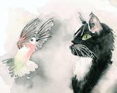 Illustration PRINT - Watercolor poster - kids art, childrens art, baby gift, nursery artwork, cat art , Tuxedo cat art black grey 10x10 N