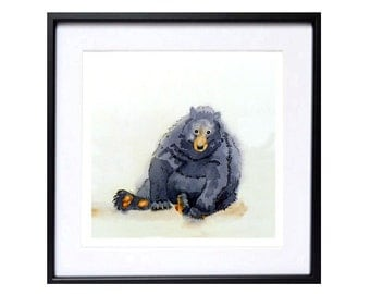 Bear Art Prints Black bear Nature painting Watercolor Painting Funny animal art Watercolor bear wall art Wildlife art Framed art N