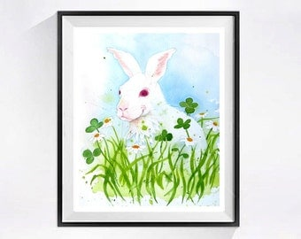 A Bunny Rabbit Original Painting Watercolor Pet rabbit painting Farm animal animal artwork Wild Life art woodlands painting Spring painting
