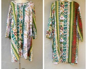 Tribal festival top / ethnic batik cotton blouse GREEN / light airy boho hippie shirt long / large xl