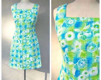 Spring floral mini dress / mod scooter dress / blue lime green white plaid / daisies flower power / garden party dress / small medium