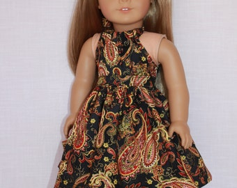 18 inch doll clothes, 2 piece set! black, red and gold paisley print halter dress with matching belt, Upbeat Petites