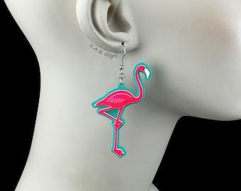 Neon Hot Pink Flamingo Earrings / Laser Cut Acrylic Flamingo Earrings (C.A.B. Fayre Original Design)