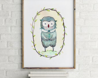 Owl, Woodland nursery decor, Nursery wall art, Woodland nursery wall art, nursery animal wall art, animal nursery, nursery wall art