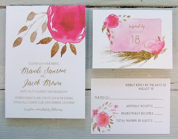 Bright Wedding Invitations: Hot Pink Wedding Invitation Bright Pink Pink & Gold