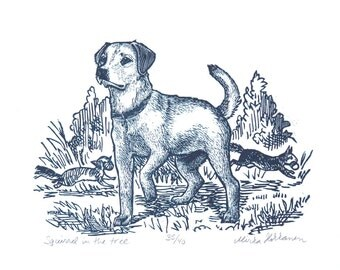 Labrador Dog Art Print - Original Engraving - Labrador Dog Art - Dog Print