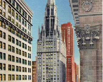 CHICAGO TEMPLE BUILDING Linen Curteich Post Card #192 Church Skycraper French Gothic Architecture early 1940s Morrison Hotel