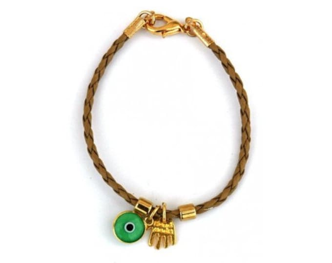 Camel Leather Hamsa and Evil Eye Bracelet
