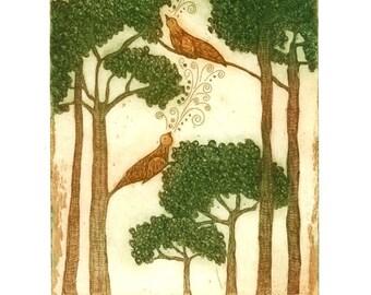 Bird art print, birds in trees print, tree wall art, forest wall art, nightingales art print, landscape print, etching, printmaking, green