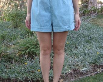 Vintage '60s High-Waisted Aqua Shorts XS