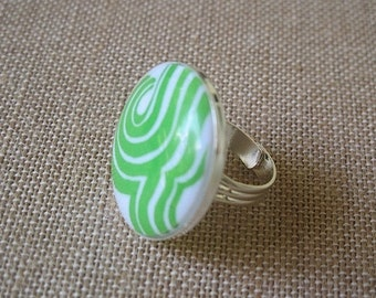 Green Ring, Green and White Ring, Retro Ring, Wave Ring