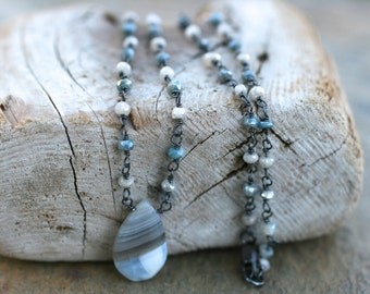 Boulder Opal, White and Blue Silverite Gemstone, Oxidized Sterling Silver Wire Wrapped Necklace, White and Blue Gemstone, Handmade Necklace