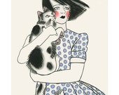 "Cat art -   Sidonie and Charles 4"" X 6"" print - 4 for 3 Sale"