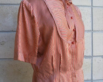 40s women's satin top, Candy Striper red and white satin, cranberry buttons with rhinestones in middle, delicious vintage, size M.