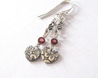 Fine Silver Heart Earrings, Rhodolite Garnet Gemstone Accent, Leaf and Flower Pattern, Art Nouveau Woodland
