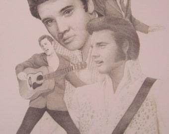 Elvis Collage Print of Original Pencil Sketch    11x14