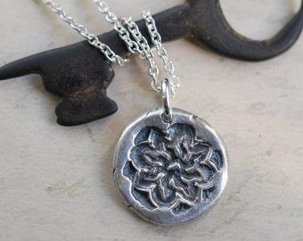 sun wax seal necklace … let your light shine - sun in splendor pendant - power, splendor - silver medieval wax seal jewelry