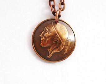 Domed Coin Pendant, Vintage Necklace, Belgium Miner, Belgique, 1957, 50 Centimes, Repurposed Eco-Friendly Jewelry by Hendywood