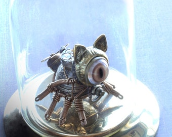 Steampunk Eight-Legged Cat Robot Sculpture in a Glass Dome Display
