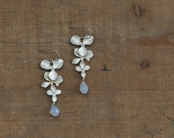 Silver Flower and Blue Chalcedony Earrings